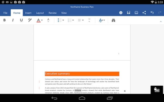 office applications on tablet